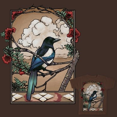 Magpie in rowan tree