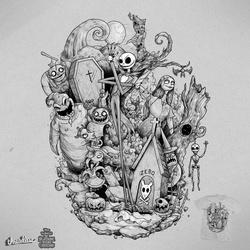 Nightmare Before Christmas Illustration.Nightmare Before Christmas Shop The Winning Designs