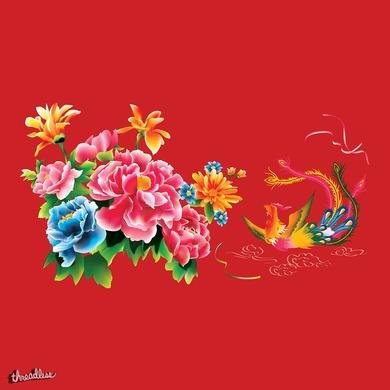 Chinese Peonies and Phoenix