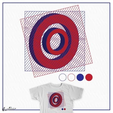 red, blue, circle and line
