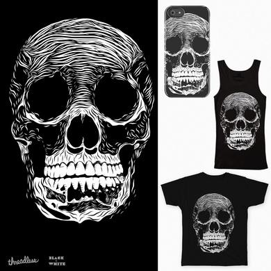 Cut Style Black & White Skull