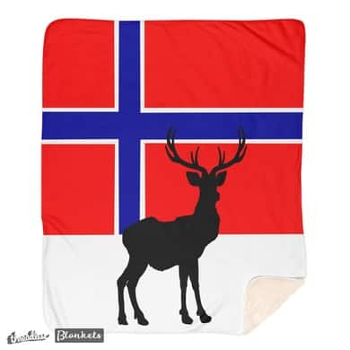 Norwegian Flag with Caribou Silhouette