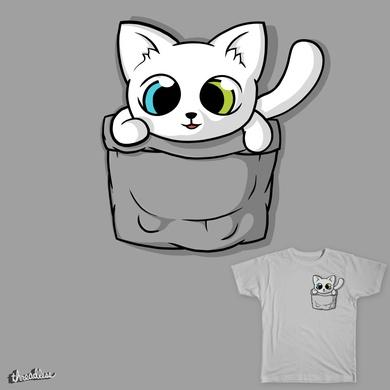 Cute White Pocket Cat