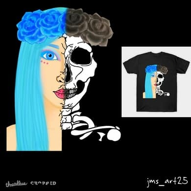Blue girl skull