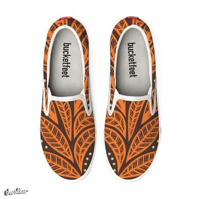 Hawaiian Polynesian tropical floral orange leaves on brown background