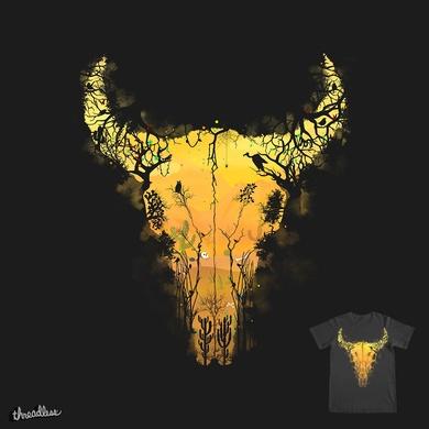 Dark Desert Cow Skull