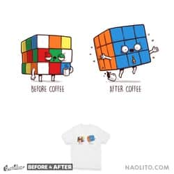 Before After Coffee - Rubik's Cube