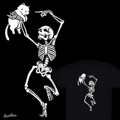 Dancing Skeleton With a Cat