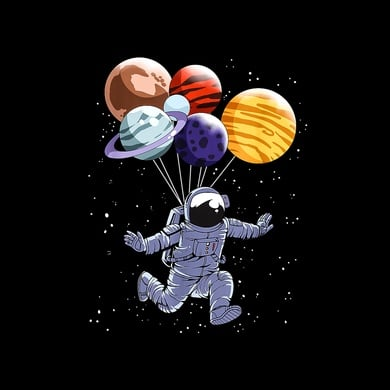 Astronaut Balloon Planets Space