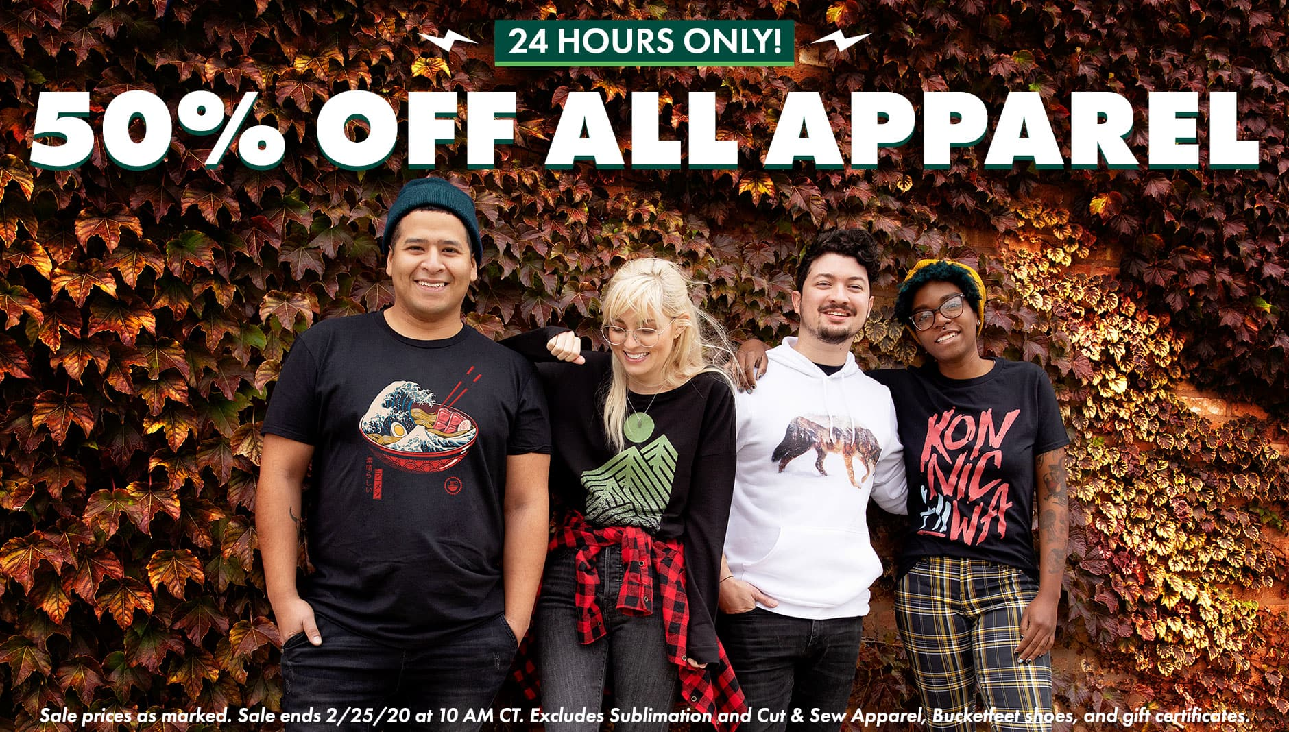 50% off ALL Apparel