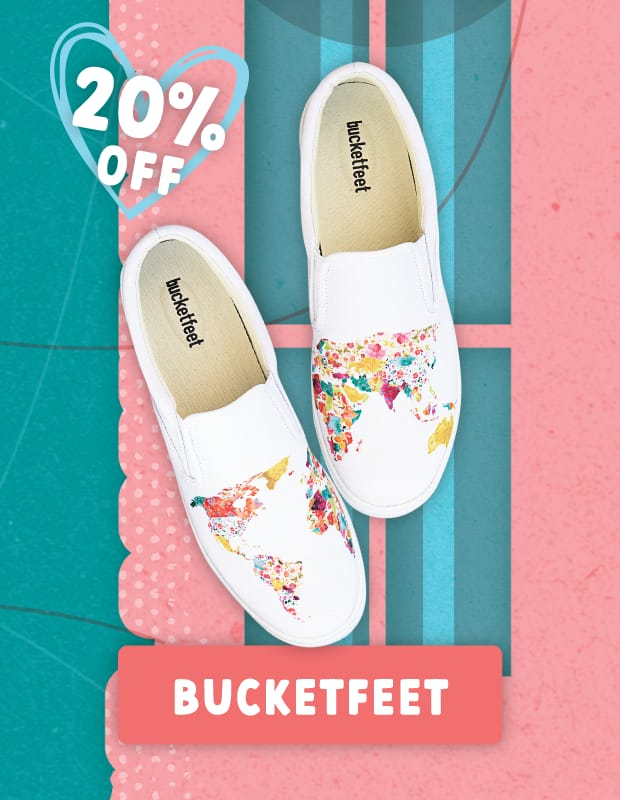 20% off Bucketfeet Shoes for Valentine's Day!