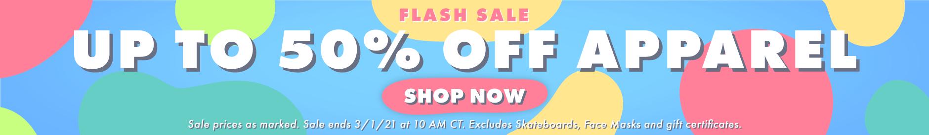 50% Off Apparel Flash Sale