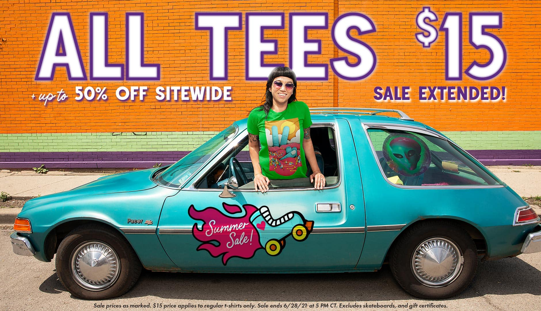 All tees $15 plus up to 50% off sitewide