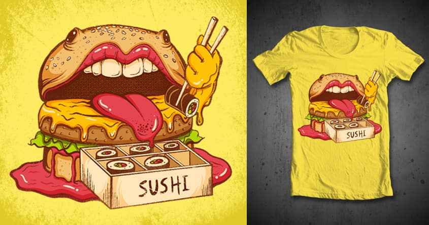 Burgers eat Sushi by sweet-chilli-philly on Threadless