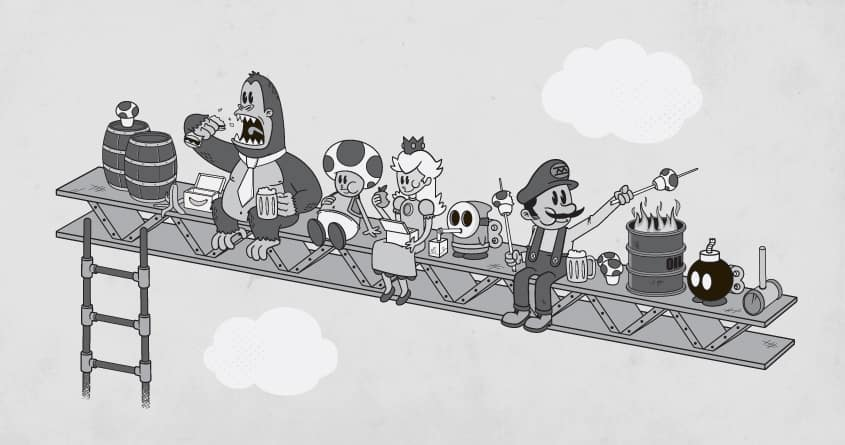 Lunch Atop a Video Game by weird&co on Threadless