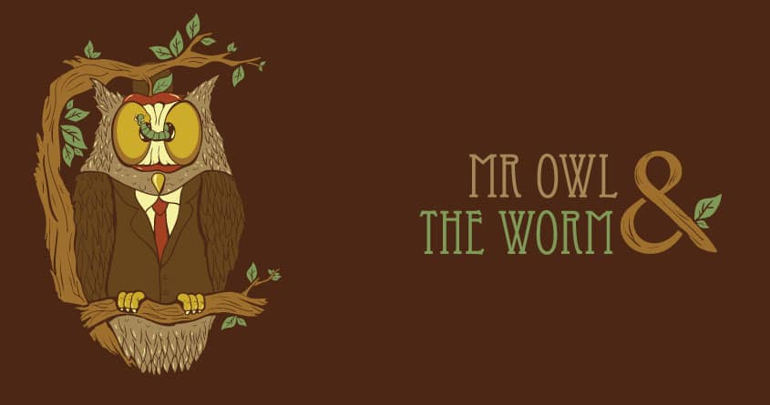 mr owl and the worm by moty_moty_moty on Threadless