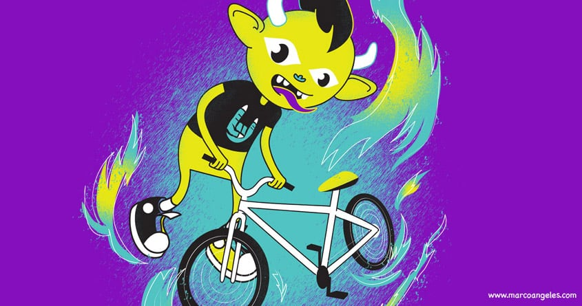 Monster Pixie riding a Fixie by ivejustquitsmoking on Threadless