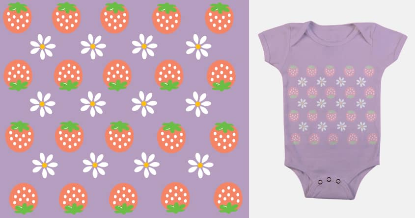 Strawberries and Daisies by artbytara on Threadless
