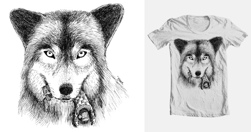 Wolf and Unlucky Little Guy by TrickSlattery on Threadless