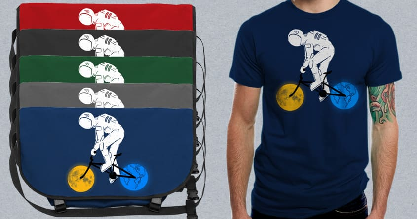 Astronaut on bicycle by barmalisiRTB on Threadless