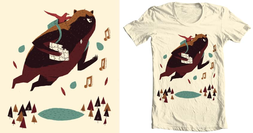 64 bit bear and bird. by louisroskosch on Threadless