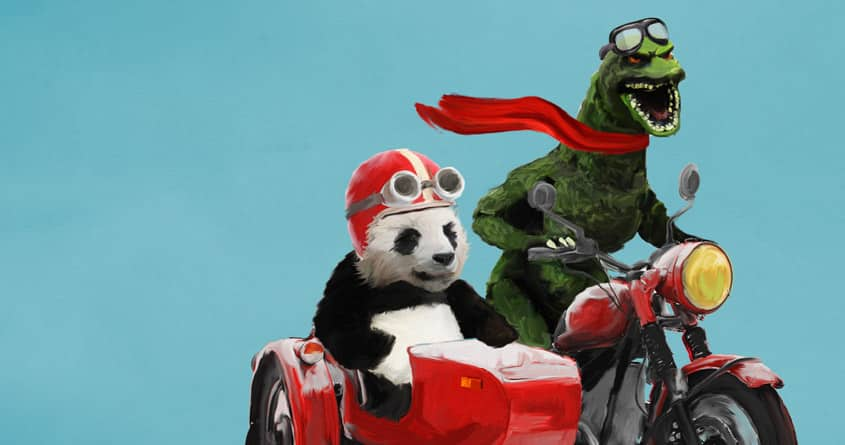 Godzilla and panda by levman on Threadless