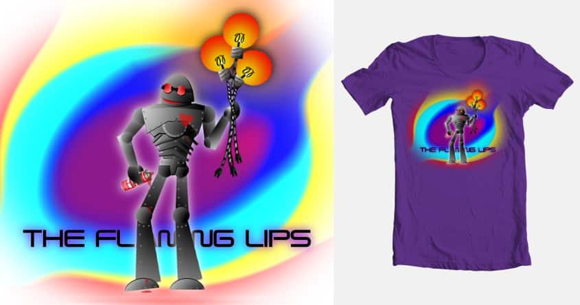 Robot brings a gift by kingyippie on Threadless