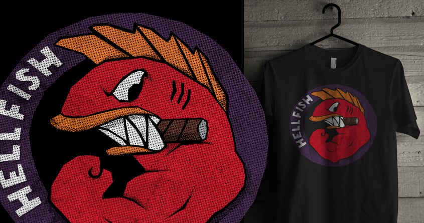 Striaght Line Flying Hellfish by arzie13 on Threadless