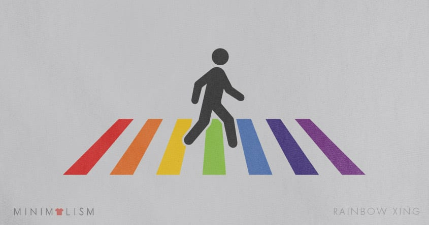 Rainbow Xing by quick-brown-fox on Threadless