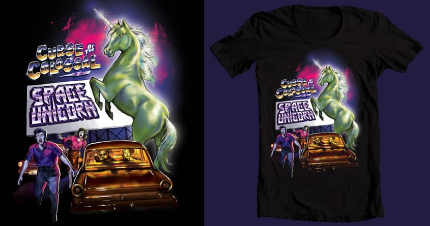 Curse of the Colossal Space Unicorn by blue sparrow on Threadless