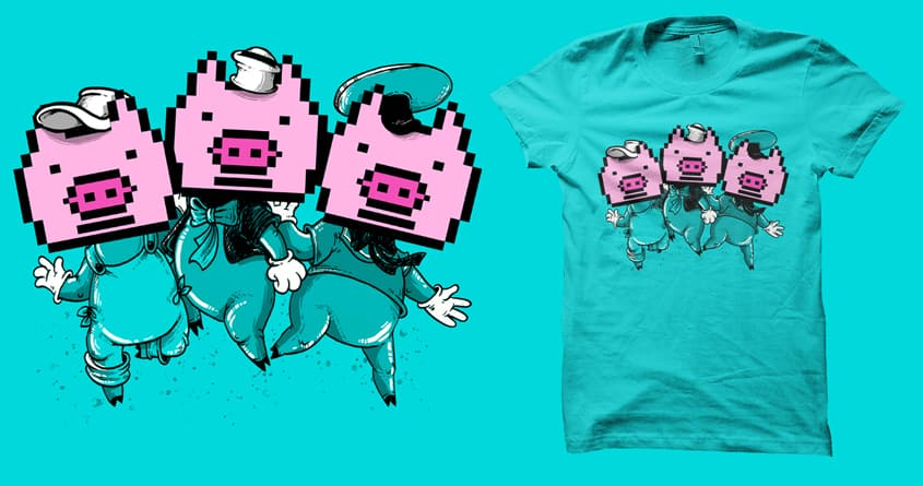 3 Little Pigs|xelated by anwarrafiee on Threadless
