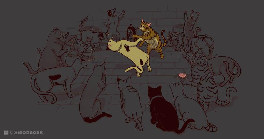 Cat Fight Club by xiaobaosg on Threadless