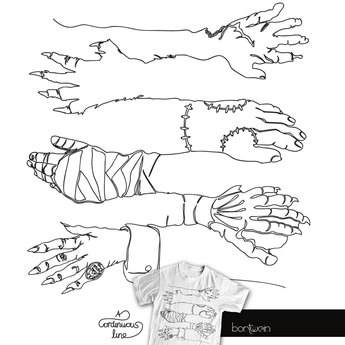 Horror Hands by bortwein on Threadless