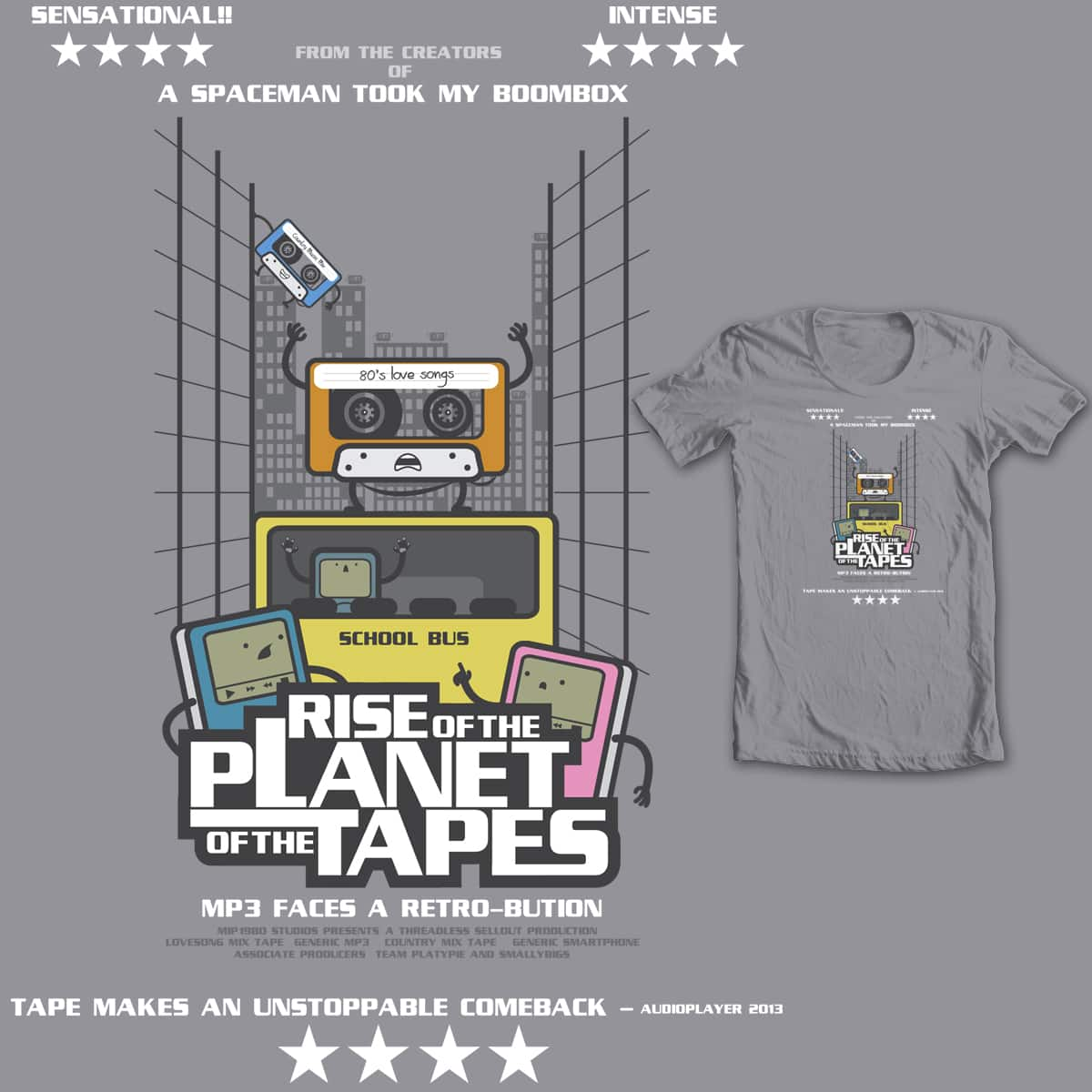 Rise of the planet of the tapes! by mip1980 on Threadless