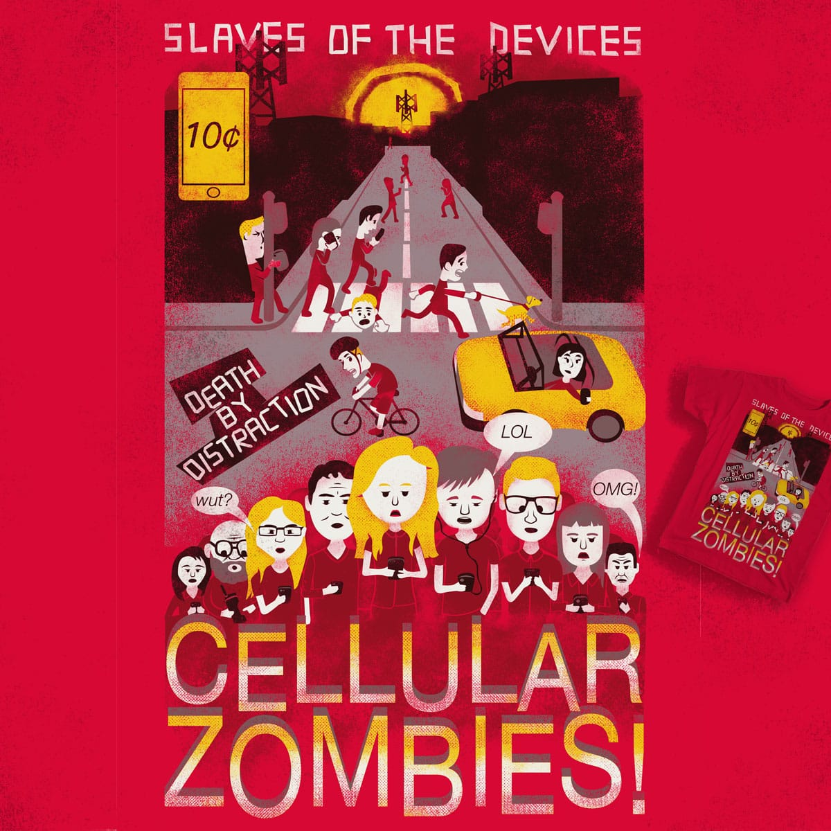 Cellular Zombies by soloyo and deliciousflavor on Threadless