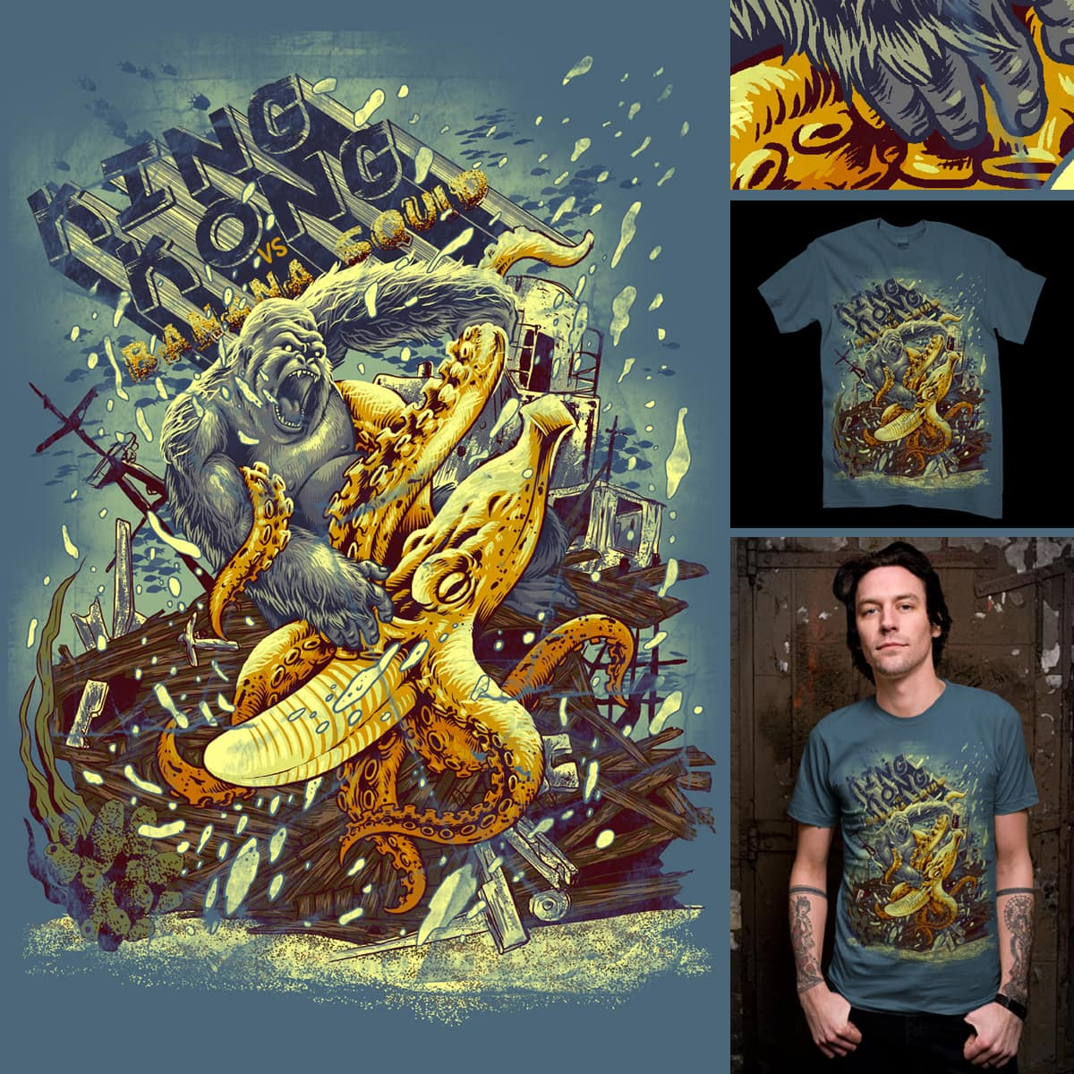 Kingkong VS Banana Squid by kooky love and markusmanson on Threadless