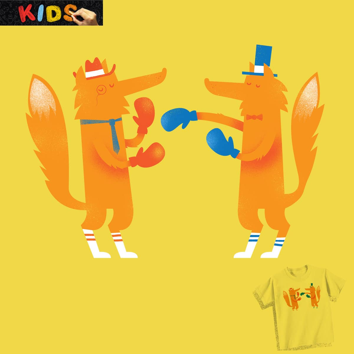 Posh foxes like to box while wearing socks by Wharton on Threadless