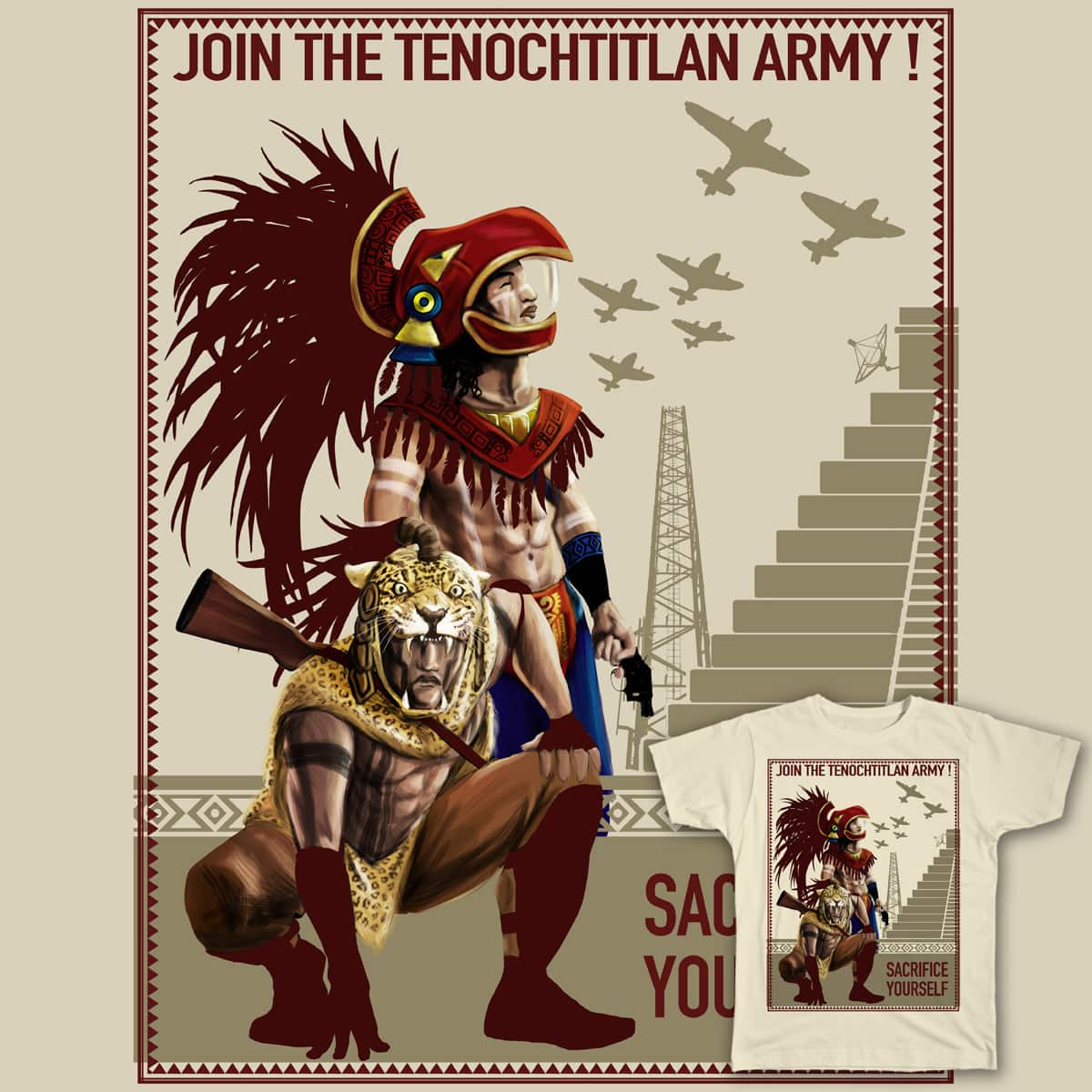 Join the Tenochtitlan army! by piratadandi on Threadless