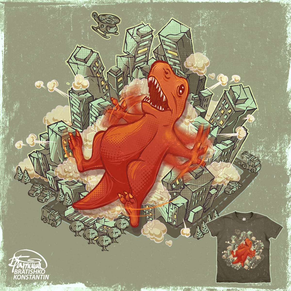 godzilla have fun  by KONSTANTIN BRATISHKO on Threadless