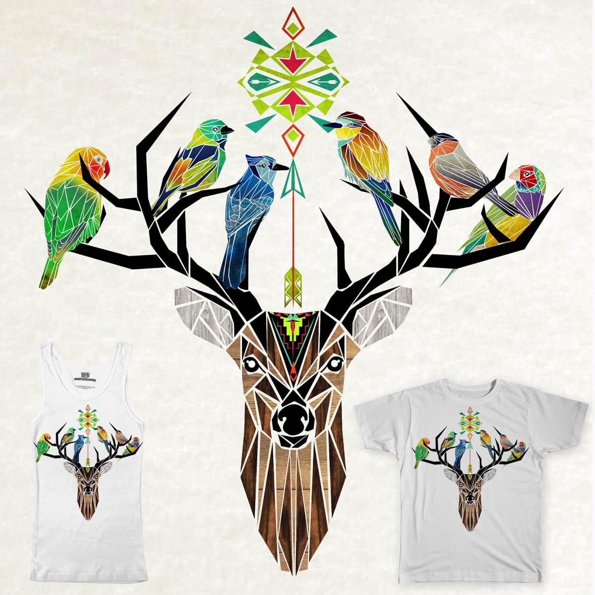 deer birds  by Manoou on Threadless