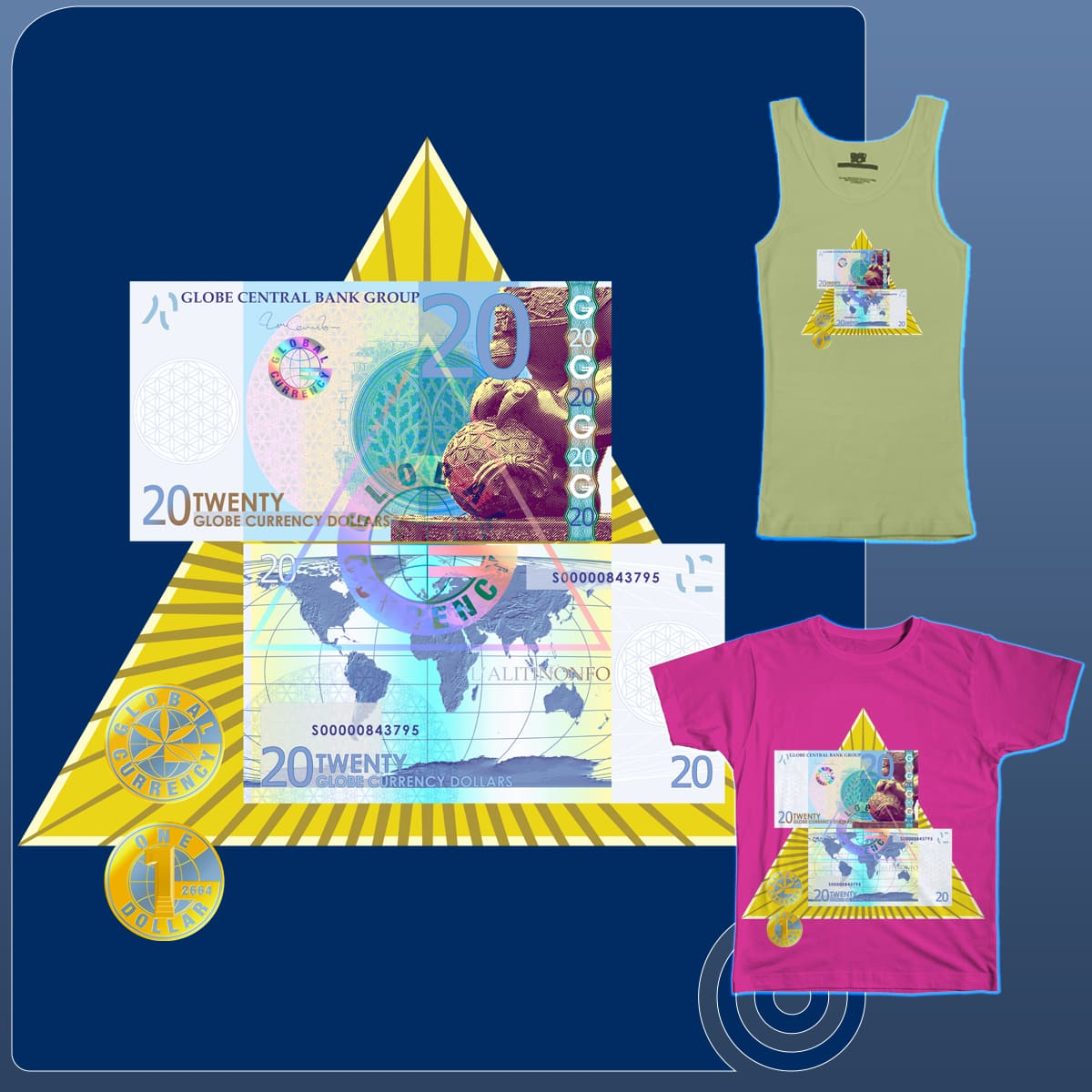 Globe Currency by JeromeDaaiming on Threadless