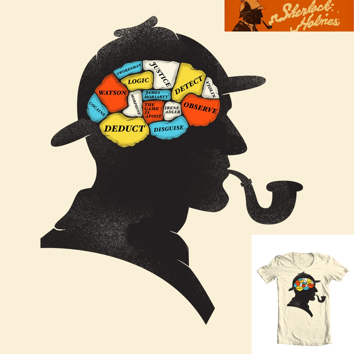 Holmes Phrenology by Wharton on Threadless