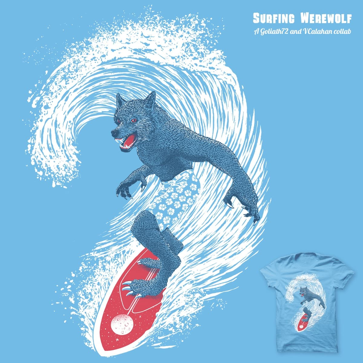 Surfing Werewolf 2.0 by goliath72 and v_calahan on Threadless