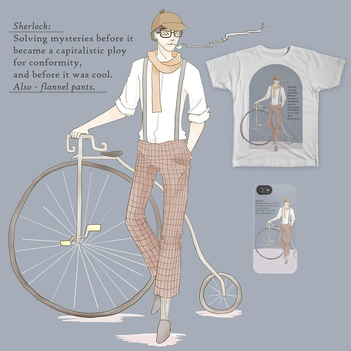 Hipster Holmes by Tiffa.Tea and botev on Threadless