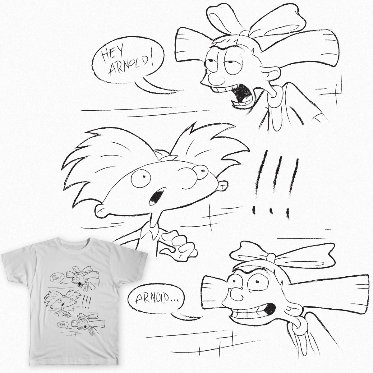 Hey Arnold!!!  by ellocoart on Threadless