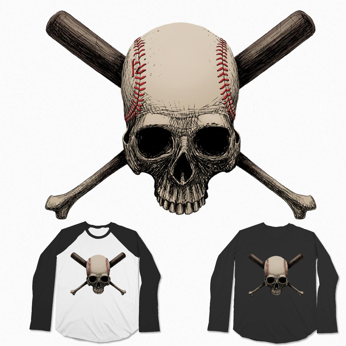 baseball skull by zakart on Threadless