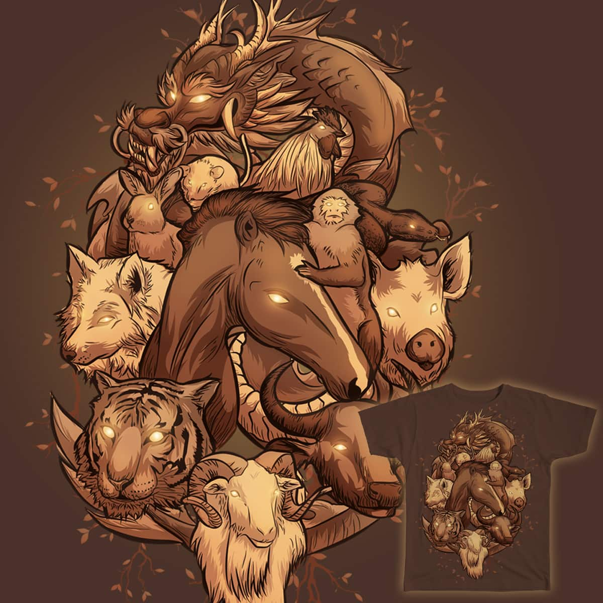 Wooden Chinese Zodiac by nicejuan on Threadless