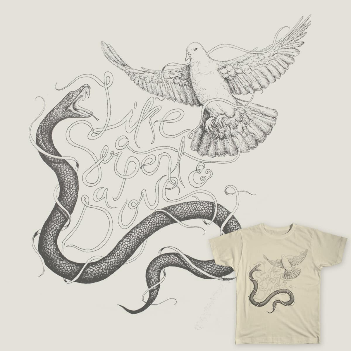 Like a serpent and a dove by Luchoardila on Threadless