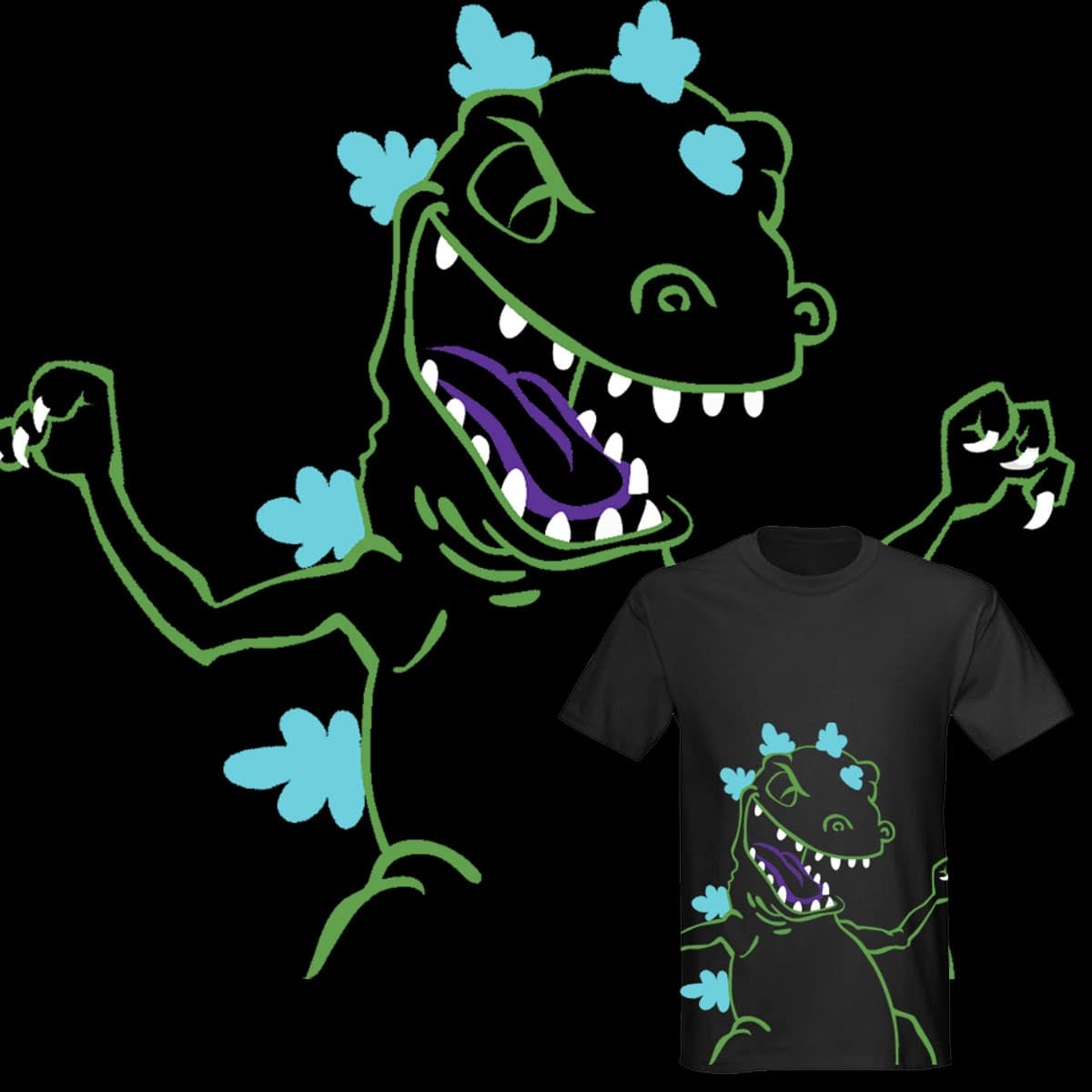 Neon Reptar by POP-COLOR-BOT on Threadless