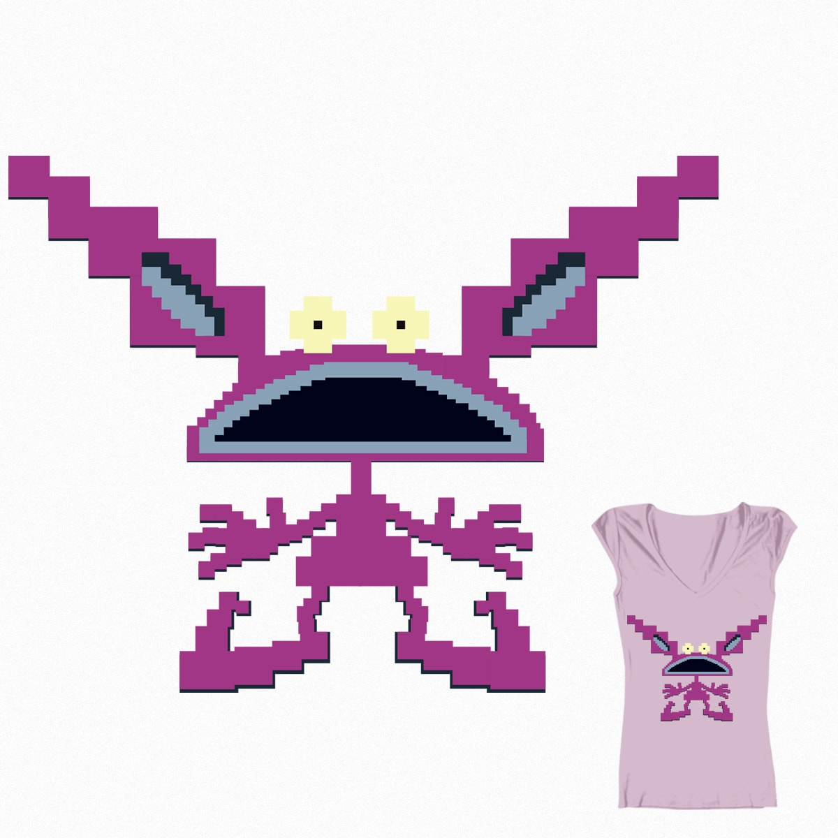 Aaahh!!! Pixel Monster by jaimiemaree on Threadless